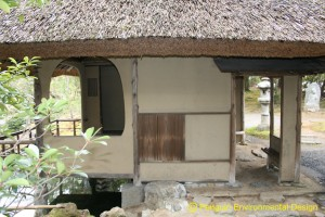 A tea house at Hashimoto Kansetsu museum in Kyoto. This rustic house is not in a mountain area but in a city area.